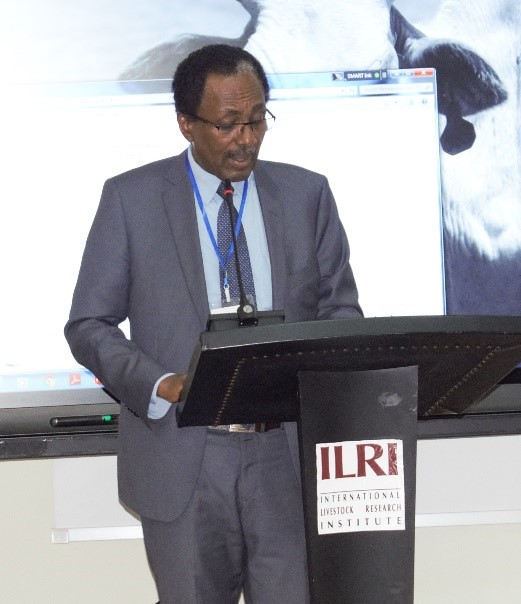 Prof. Fekadu state minister, Ministry of Livestock and Agriculture, Ethiopia at the livestock insurance policy diaogue in Addis Ababa