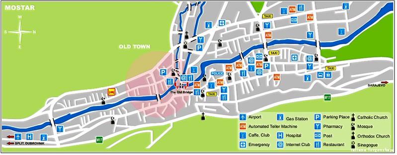 Карта Мостара с важными объектами