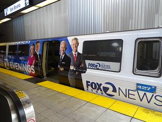 ba BART Car Channel 2 FOX NEWS Ad  San Bruno BART Station