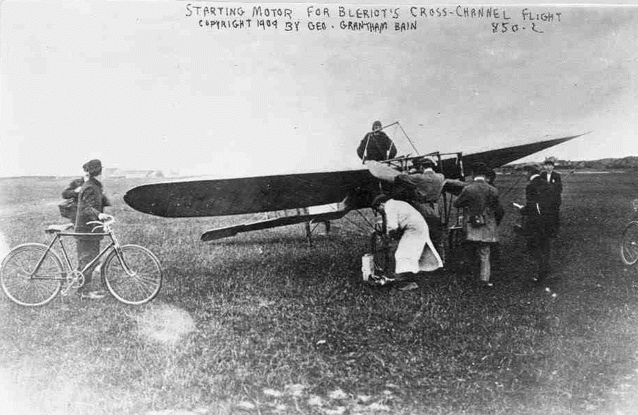 Louis Blériot in his aircraft just before takeoff for his cross-channel flight, July 25, 1909.