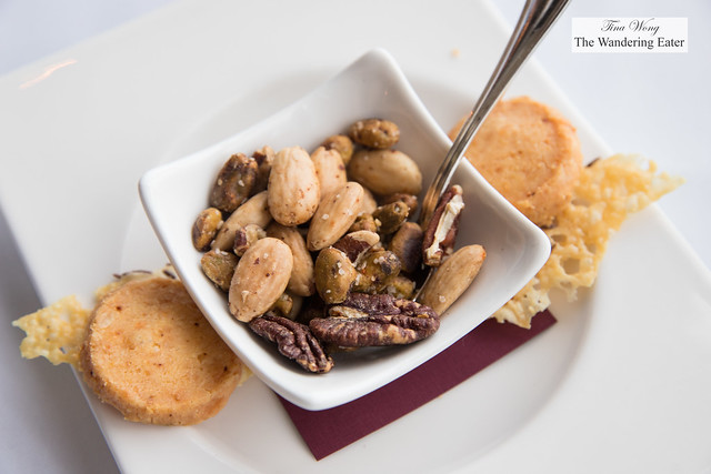 Mixed nuts, Parmesan shortbread and Cumin-Parmesan crisps (or fricos)