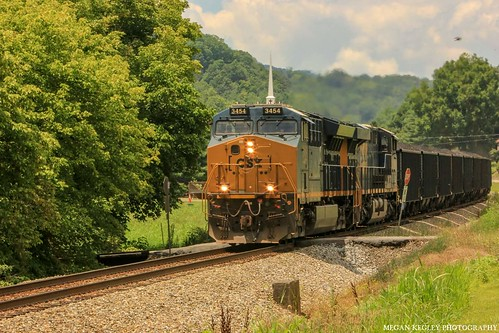 csx t79525 kt24 norfolksouthernappalachiadistrict gatecityva csx3454 generalelectric locomotive railfan railfanning femalerailfan railroad coaltrain norfolksouthern appalachianmountains church southwestva scottcountyvirginia landscape mountains trees rocks summer foliage railroadtracks railroadcrossing et44ah tier4locomotive train