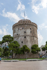 White Tower of Thessaloniki on a cloudy day