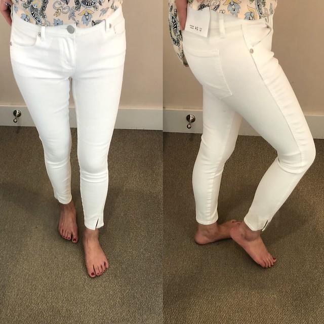 LOFT Modern Twist Seam Skinny Jeans in White, size 24/00P