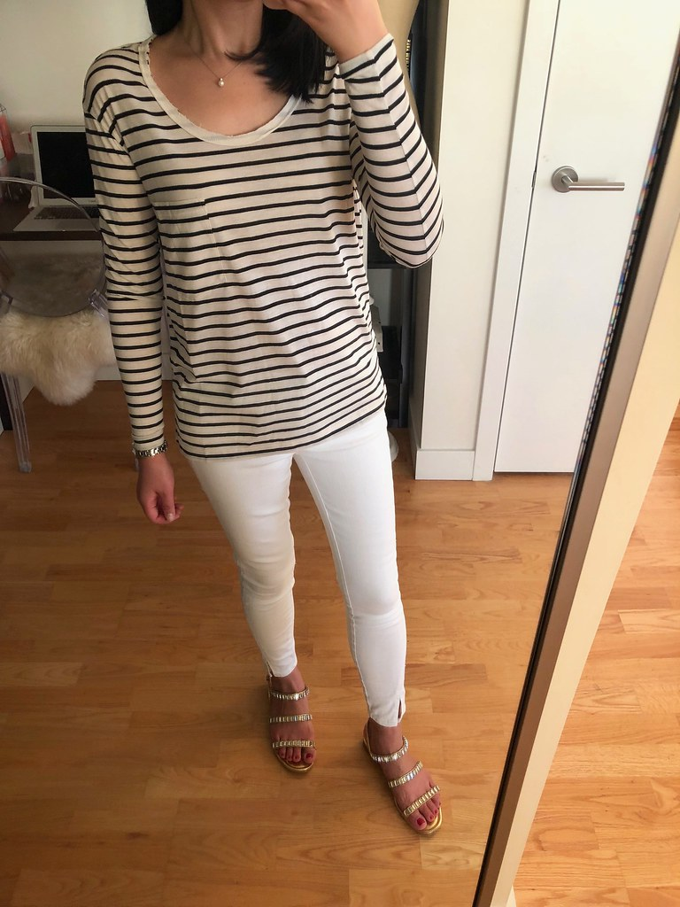 BP. Raw Edge Scoop Neck Tee in ivory Liz stripe, size XXS