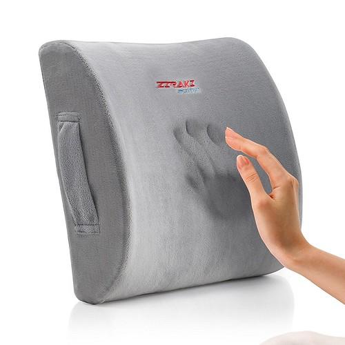 ZIRAKI Memory Foam Lumbar Cushion - Premium Lumbar Support Pillow Lower Back Pain Relief, Protect & Soothe Your Back - Improve Your Posture - Soft & Firm...