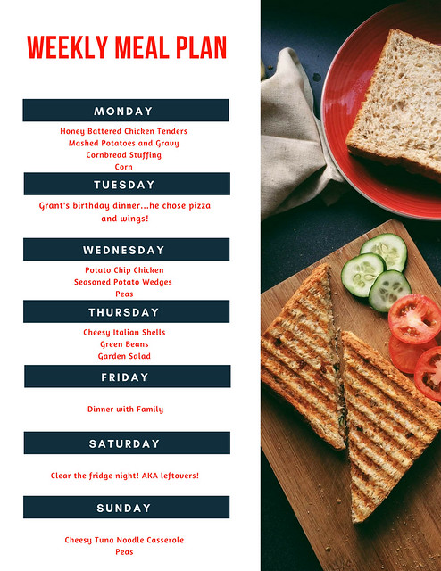 Weekly Menu Plan for Families