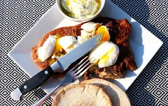 BREAKFAST OF CHAMPIONS # 63 – VEAL BLADE STEAK WITH POACHED EGGS, TZATSIKI & PITA