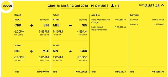 Scoot Promo Clark to Maldives Roundtrip