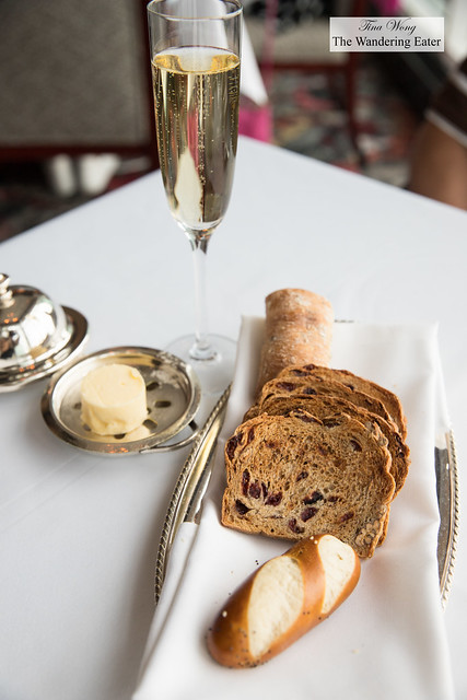 Bread service and glass of Pol Roger Champagne