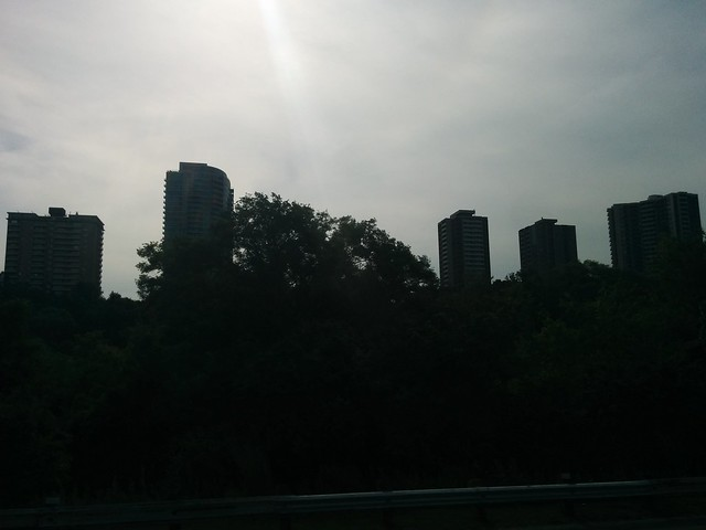 Towers in the sun past Todmorden Mills #toronto #donvalleyparkway #todmordenmills #playterestates #skyline #towers