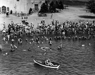 Lifeguard and swimmers at Green Lake, 1930