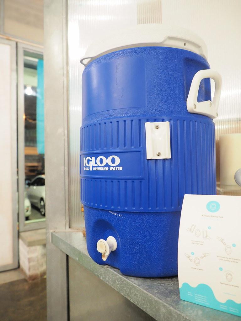 Kakigori offers free drinking water from the big water tank