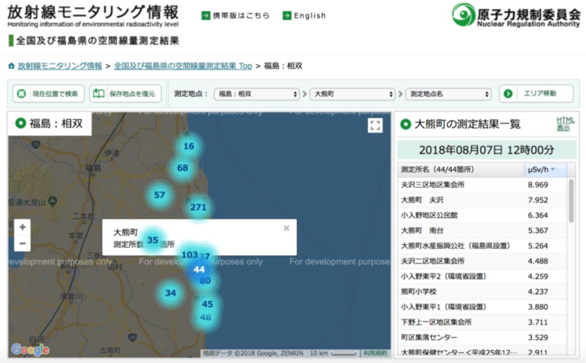 東日本大震災放射線監控資訊網
