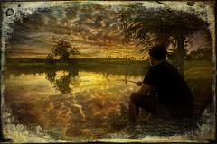 Fishing At Sunset (textured)