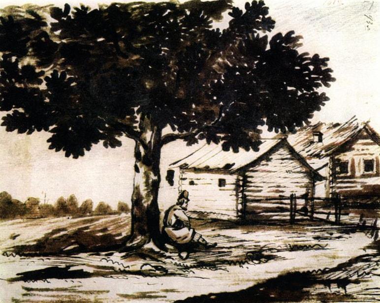 Крестьянин под деревом. Рисунок М.Ю. Лермонтова