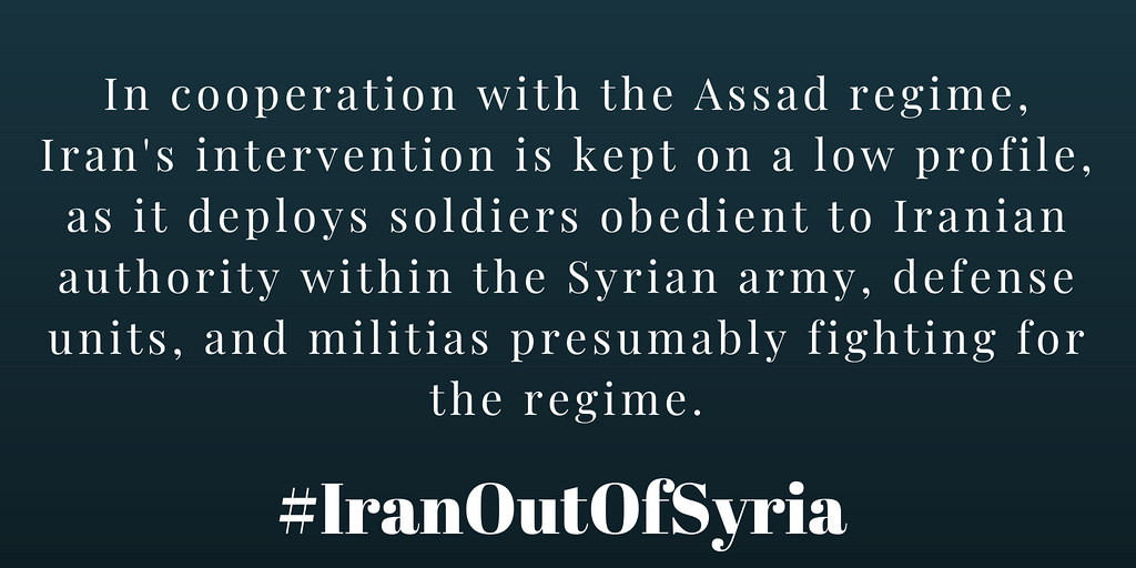 #IranOutOfSyria In cooperation with the Assad regime, #Iran's intervention is kept on a low profile,