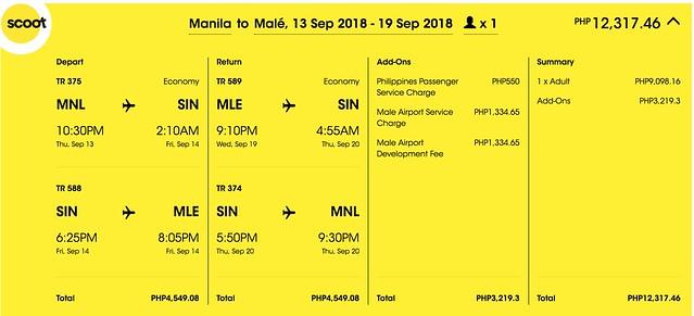 Scoot Promo Manila to Maldives Roundtrip