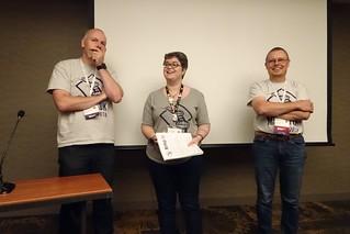 Geert Bormans, Bethan Tovey, and Ari Nordström at Balisage 2018