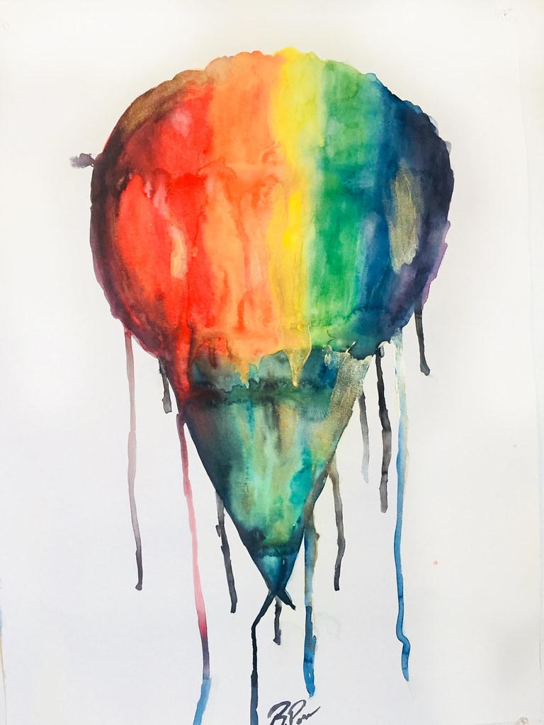 Rebecca Pons, BECCA PONS + CREATIVE, watercolor, fine art, RAINBOW SNOWBALL, Nuits D' Èté En New Orleans Collection, Artist