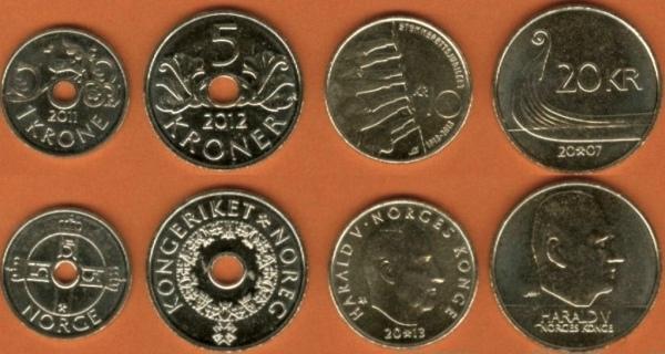 Nórsko 1-5-10-20 Kroner 2007-2013