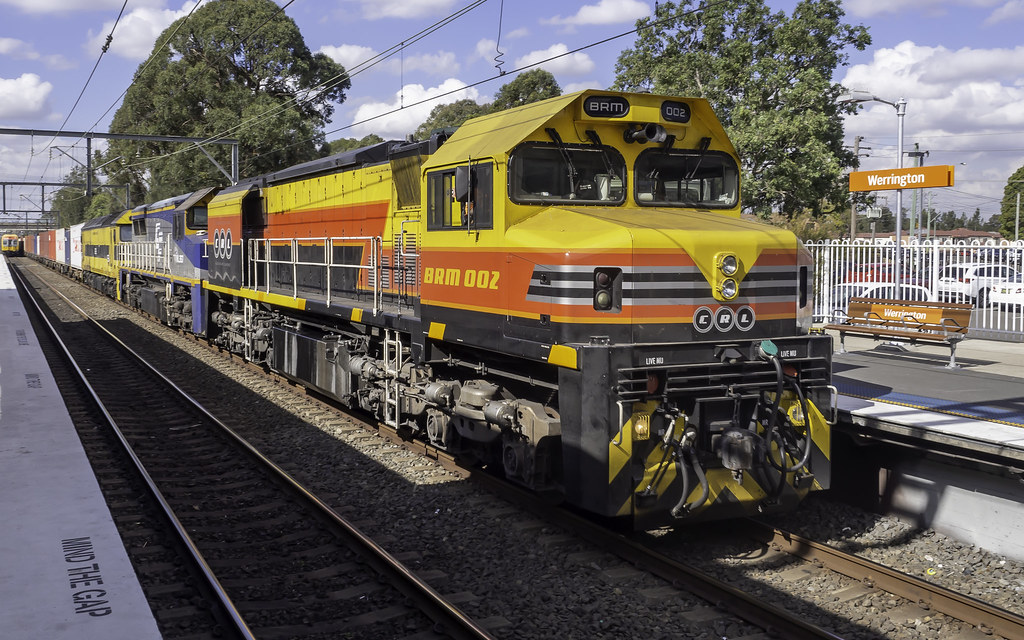 SSR's run 1845 being hauled by a smorgasbord of loco's today, namely BRM002 (CRL Consolidated Rail Leasing), VL357 (CFCLA Chicago Freight Car Leasing Australia) and G513 (SSR Southern Shorthaul Railroad) by Time Off Photography