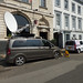 Welcome Home Team England - Birmingham 2022 - Waterloo Street - TV vans including BBC WM