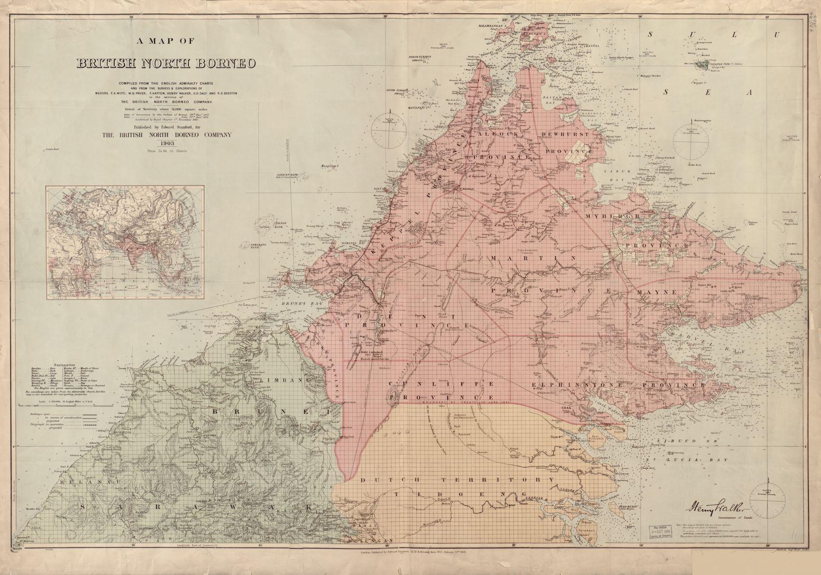 Map of North Borneo, 1903