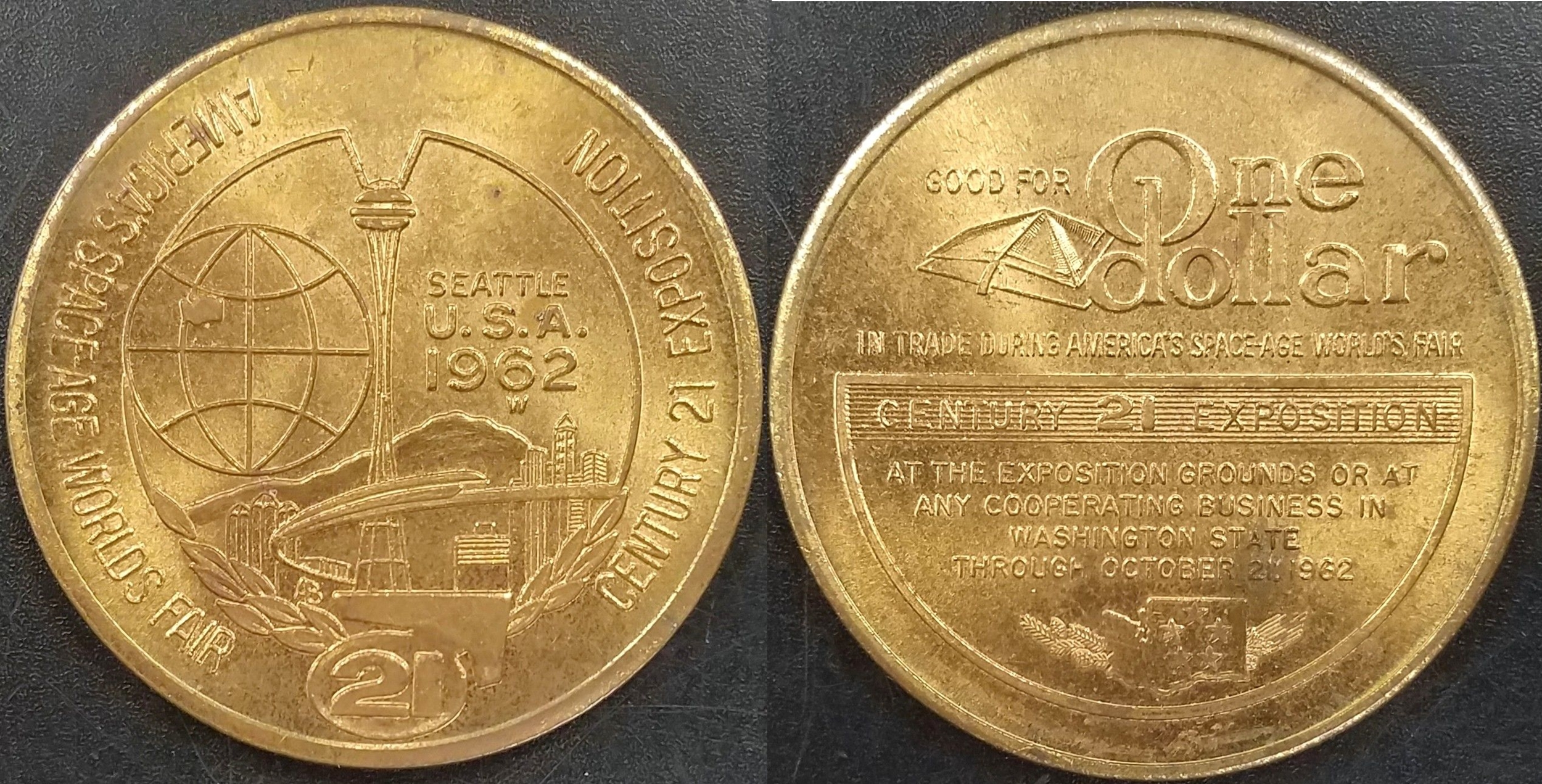 Trade dollar token used at the Seattle World's Fair, 1962.