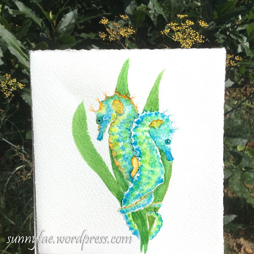 watercolour of seahorses #worldwatercolourmonth