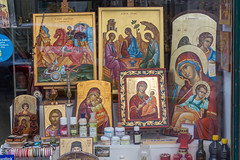 Images of saints in a shop across the street of Church of St. Demetrios