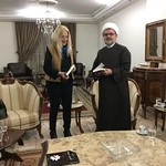 Mufti Jaafari, Sheikh Ahmad Taleb offering his book to Vassula and she is offering him the HIR book