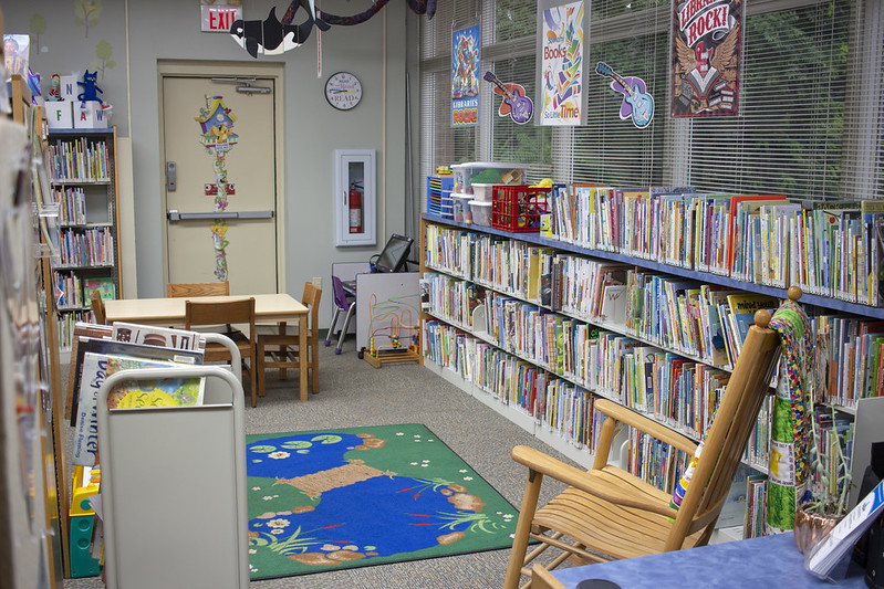 Childrens books and storytime area