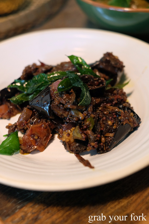 Eggplant with tomato and tamarind by O Tama Carey at Lankan Filling Station in East Sydney