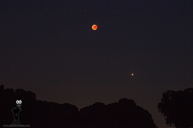 Luna eclipsada y Marte