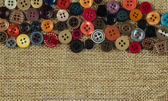Button isolated on fabric