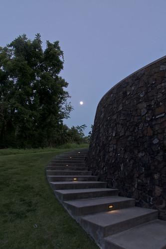 jamesturrell skyspace thewayofcolor moon blue dusk trees outdoors crystalbridges bentonville ar