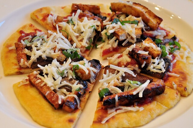 BBQ Tofu and Portobello Mushroom Pizza