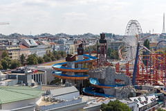Rides at Prater amusement park in Vienna