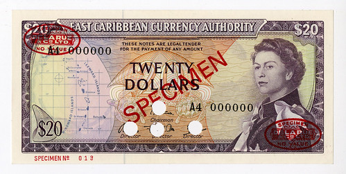 Lot 241. East Caribbean Currency Authority, ND (1965) $20, Specimen Banknote