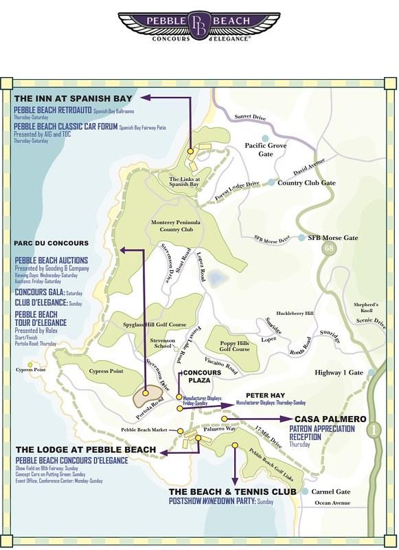 мапа на турите на Пебл Бич