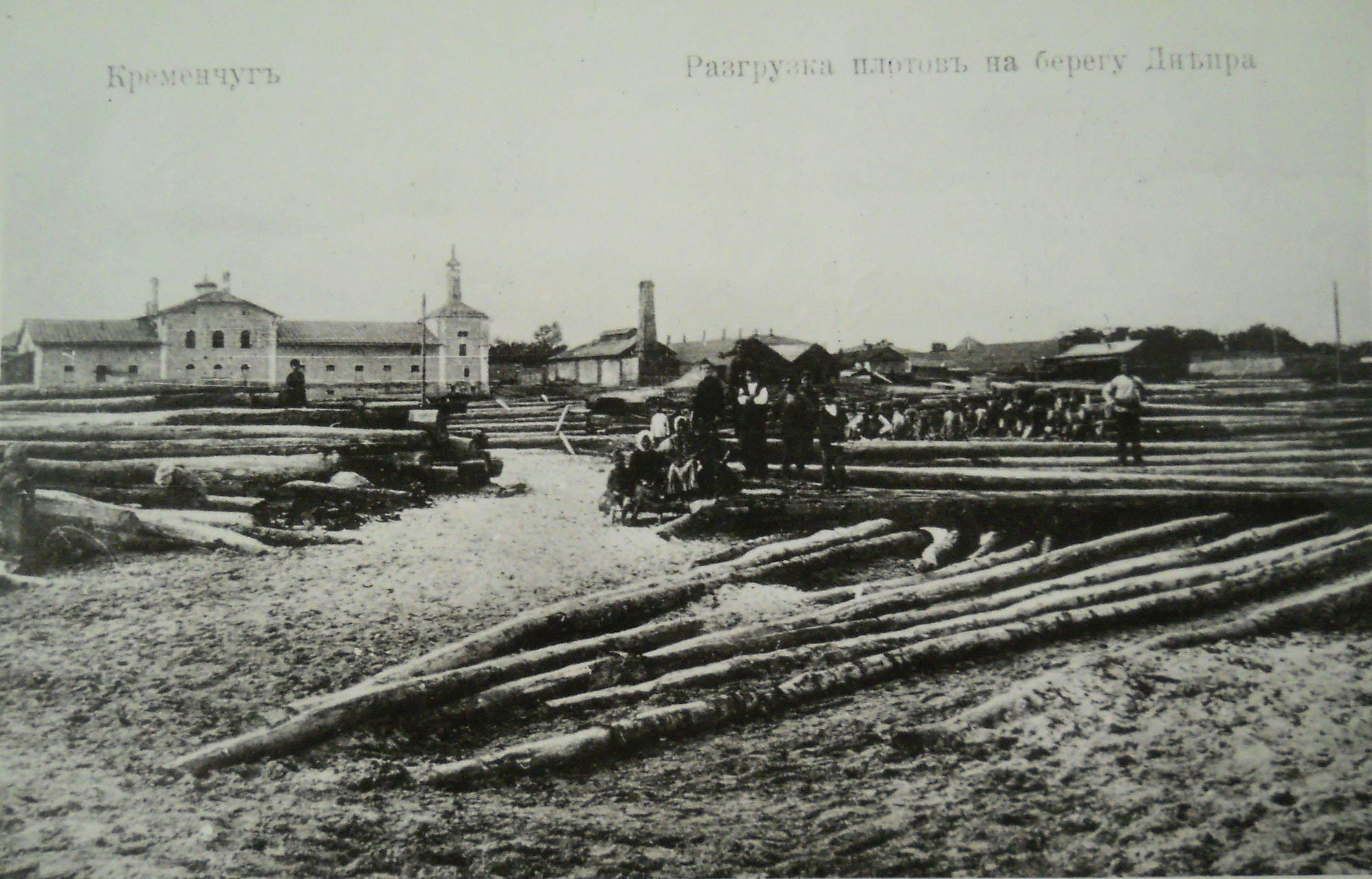 Разгрузка плотов на берегу Днепра