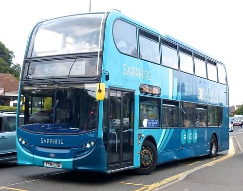 YY14 LHD 'ARRIVA Midlands' No. 4400 'Sapphire 38'. 'Alexander Dennis Ltd'. 'E40D' / 'ADL' Enviro 400 on Dennis Basford's railsroadsrunways.blogspot.co.uk'