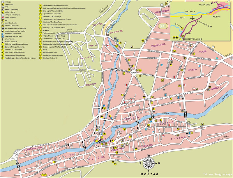 Туристическая карта Мостара с достопримечательностями