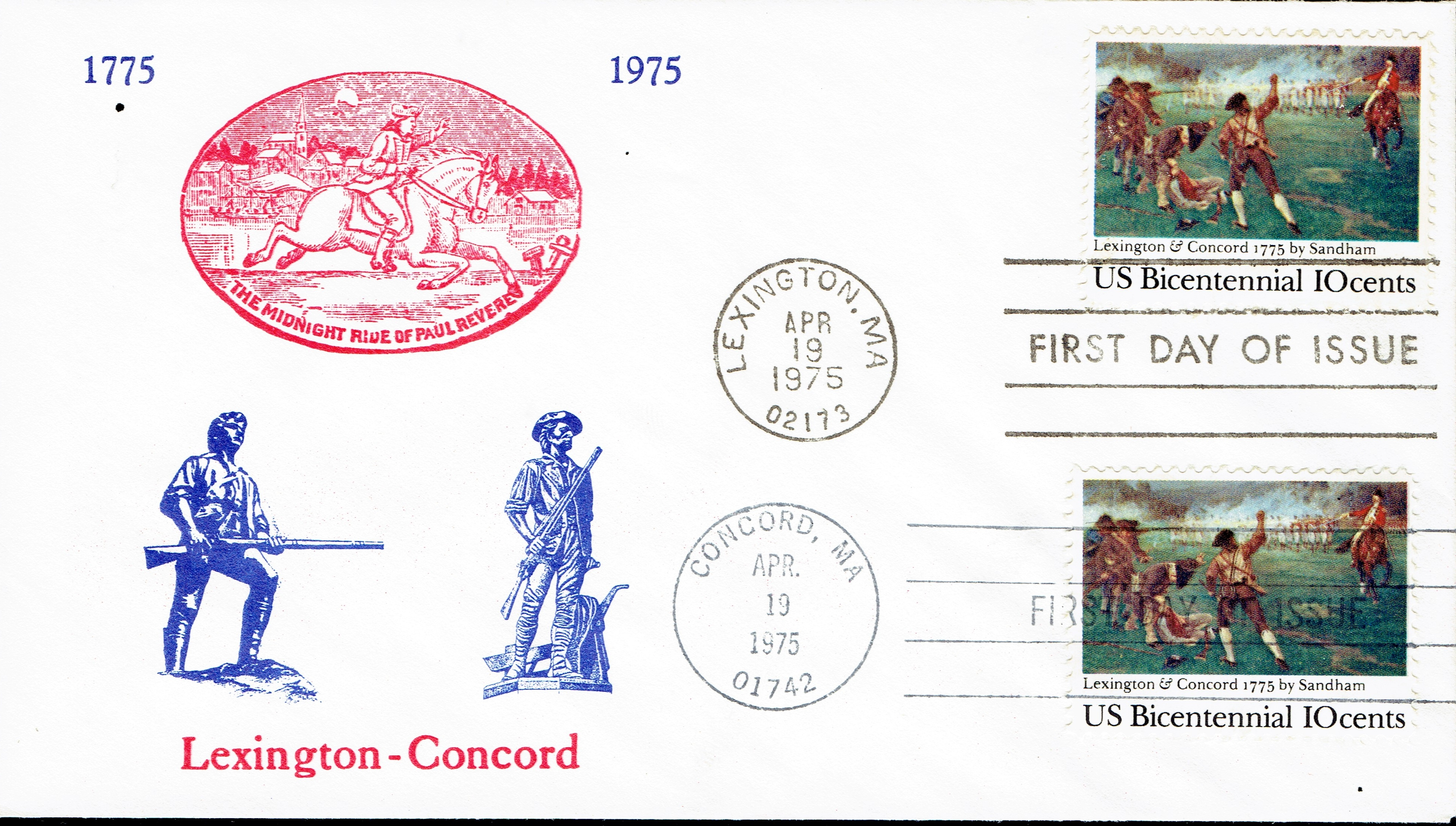 United States - Scott #1563 (1975) - first day cover with cancellations from Lexington and Concord, Massachusetts