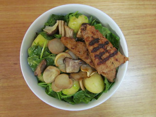 Farmer's Salad with Chive Vinaigrette; Garlicky-Thyme Tempeh