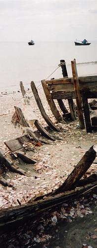 A boat skeleton in Mui Ne, Vietnam