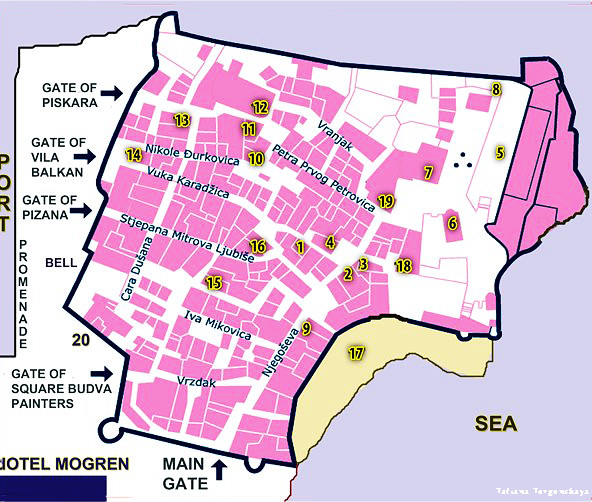Старый город Будвы на карте