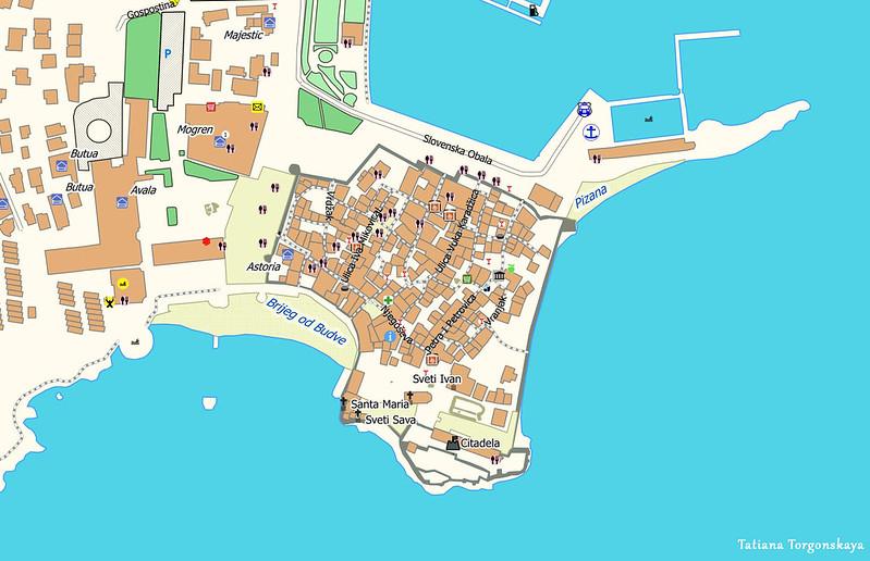 Карта Старого города в Будве