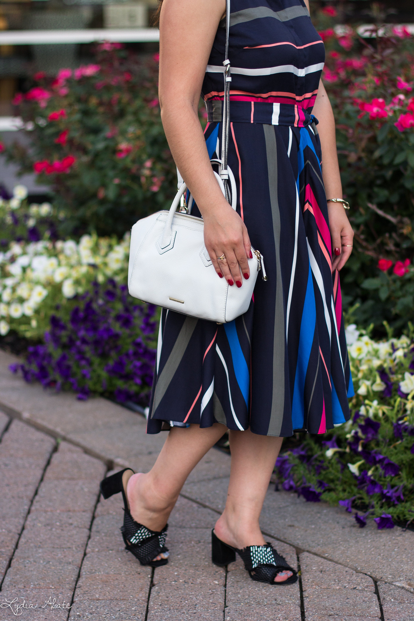 Striped dress, Black mules, white bag, navy straw hat-9.jpg